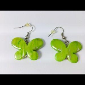 Vintage Green butterfly earrings